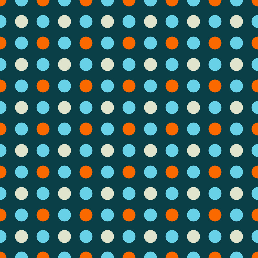 Blue And Orange Polka Dots Pattern