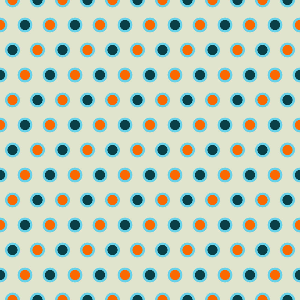Blue And Orange Polka Dots Pattern