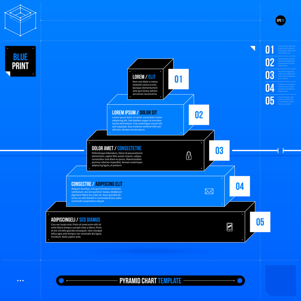 Pyramid Chart Template In Blueprint Style With Five Stages Eps10 Diagram