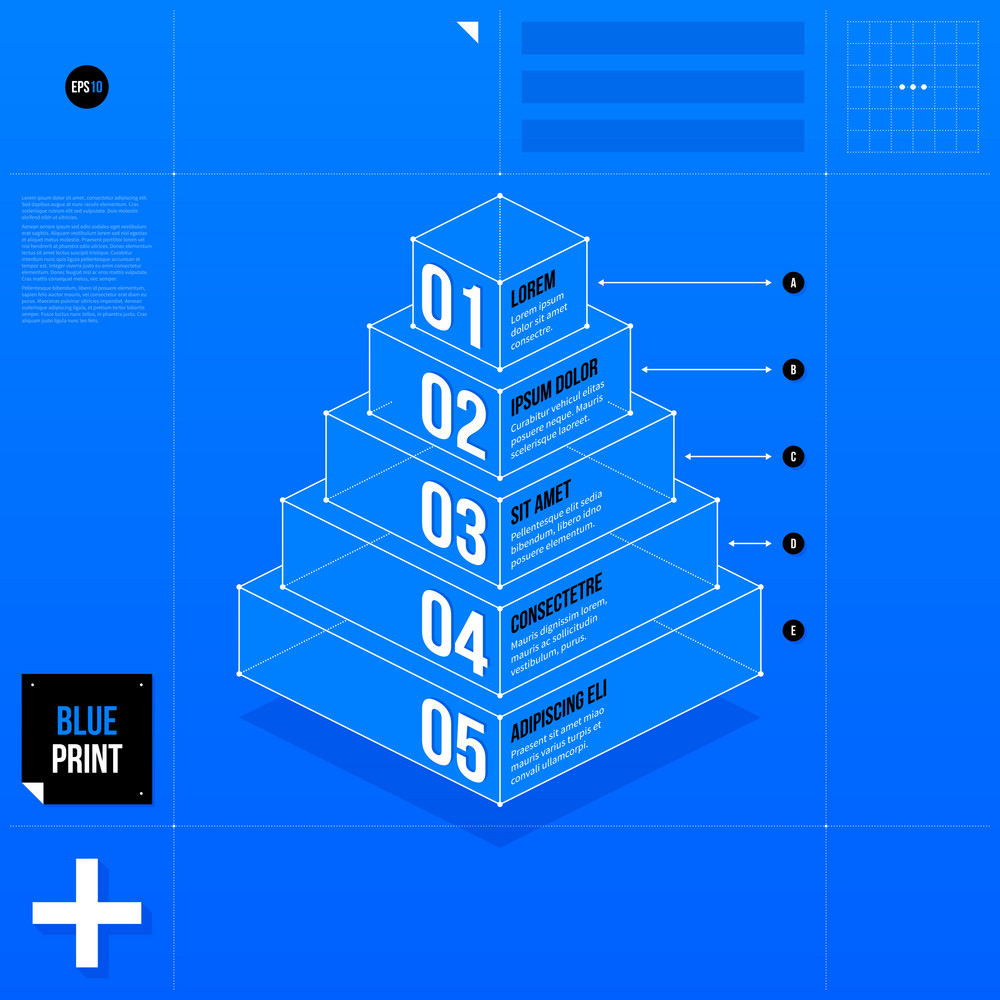 Pyramid Chart Template With Five Stages In Blueprint Style Eps10 Diagram