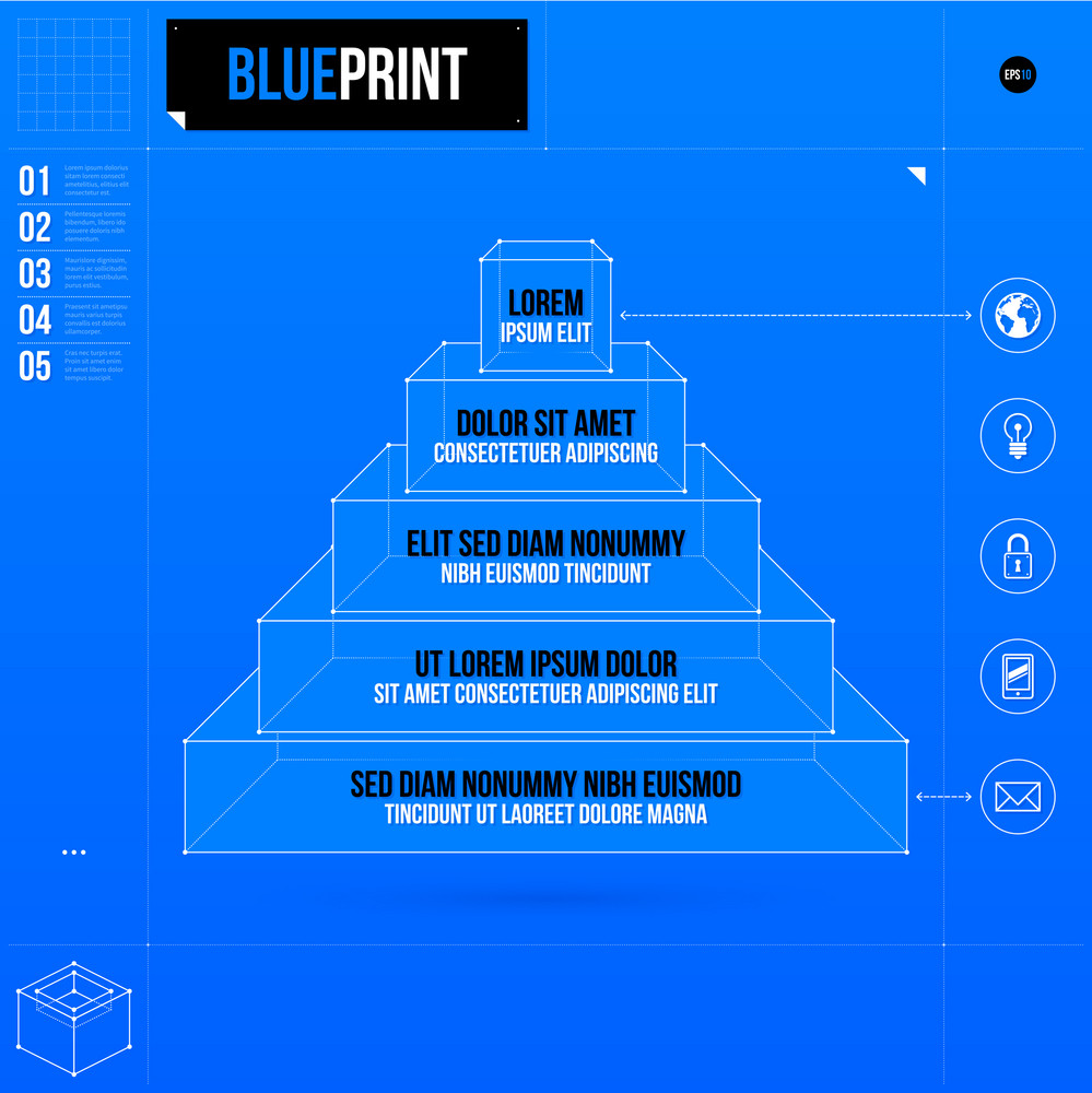 pyramid chart template with five stages in blueprint style eps10