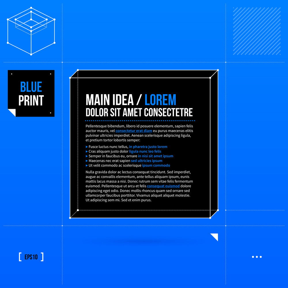 Text Frame Template In Blueprint Style. Eps10