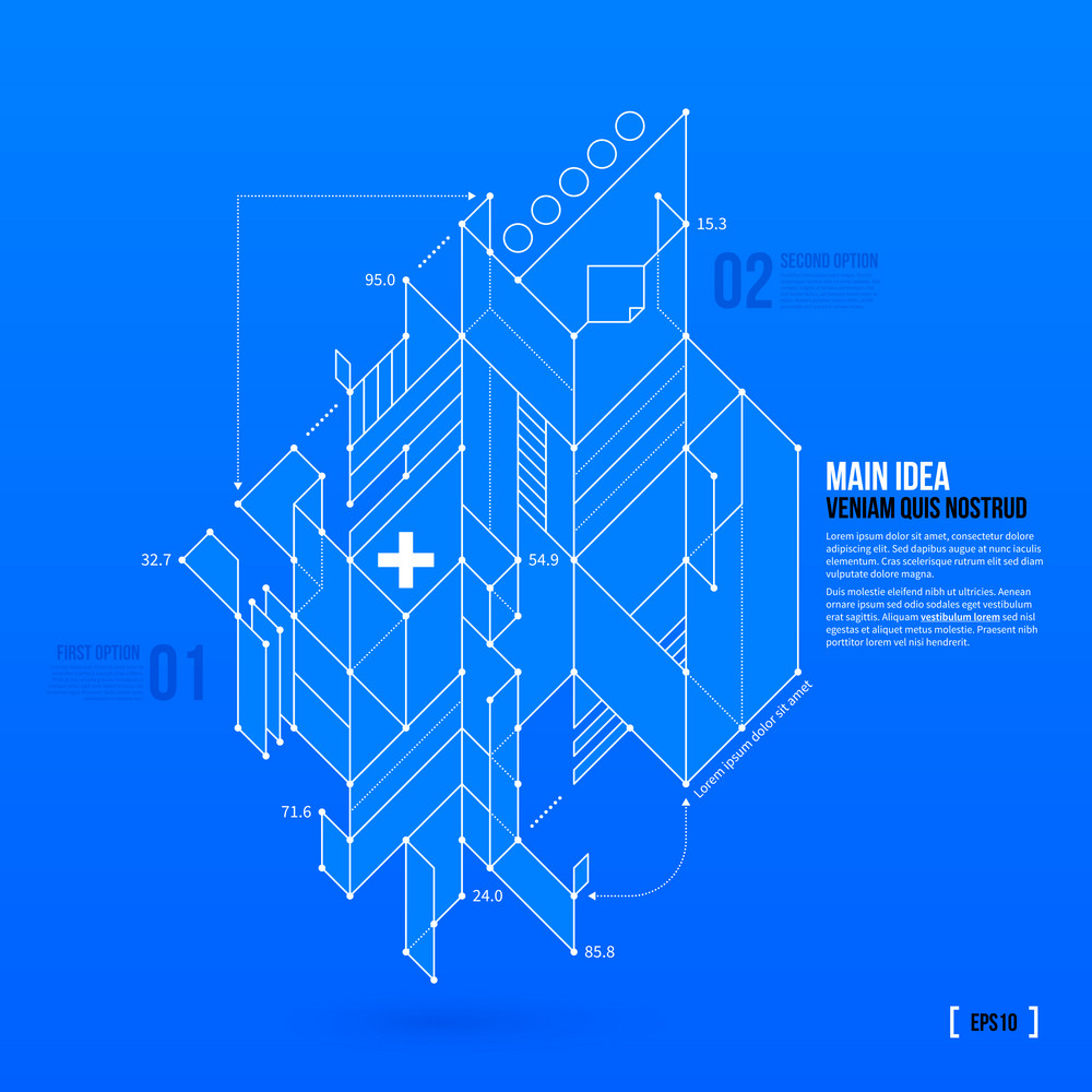 Abstract Blueprint With Complex Geometric Element. Useful For Presentations. Eps10 Vector Template