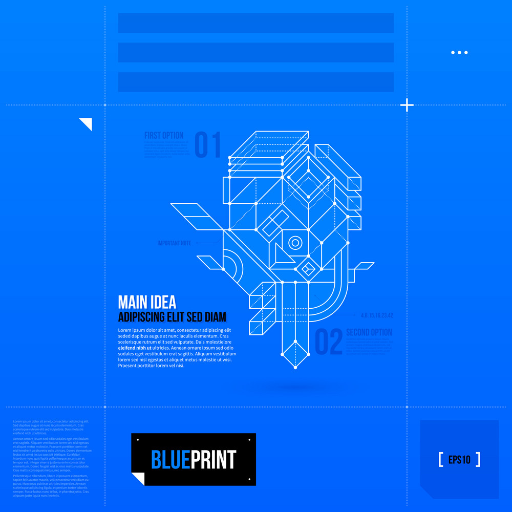 Page Layout With Abstract 3d Element In Blueprint Style. Eps10