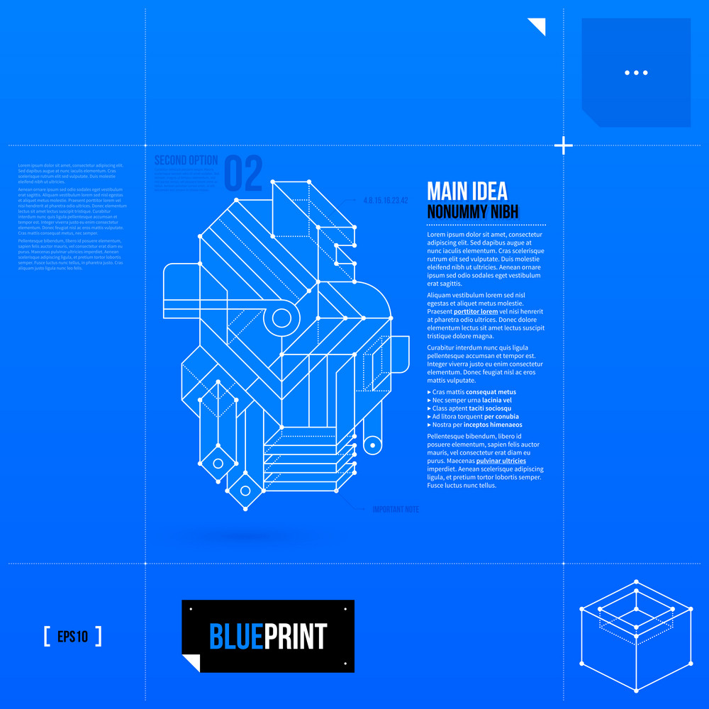 Vector Layout With Abstract Geometric Objet In Blueprint Style. Eps10