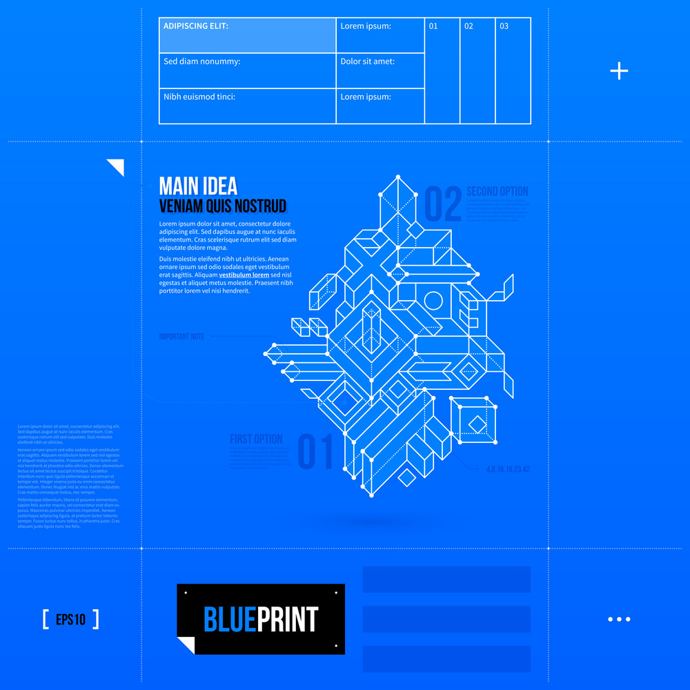 Simple Vector Layout With Abstract Outline Object In Blueprint Style. Eps10