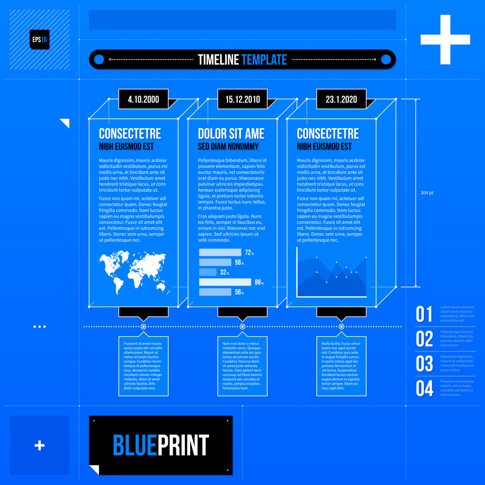 Vector Timeline Template With Rectangle Elements In Blueprint Style. Eps10
