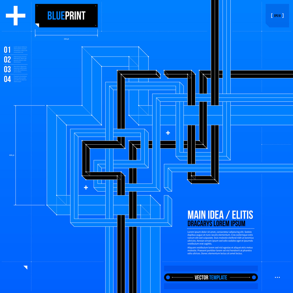 Abstract Composition With Crossing 3d Lines In Blueprint Style. Eps10