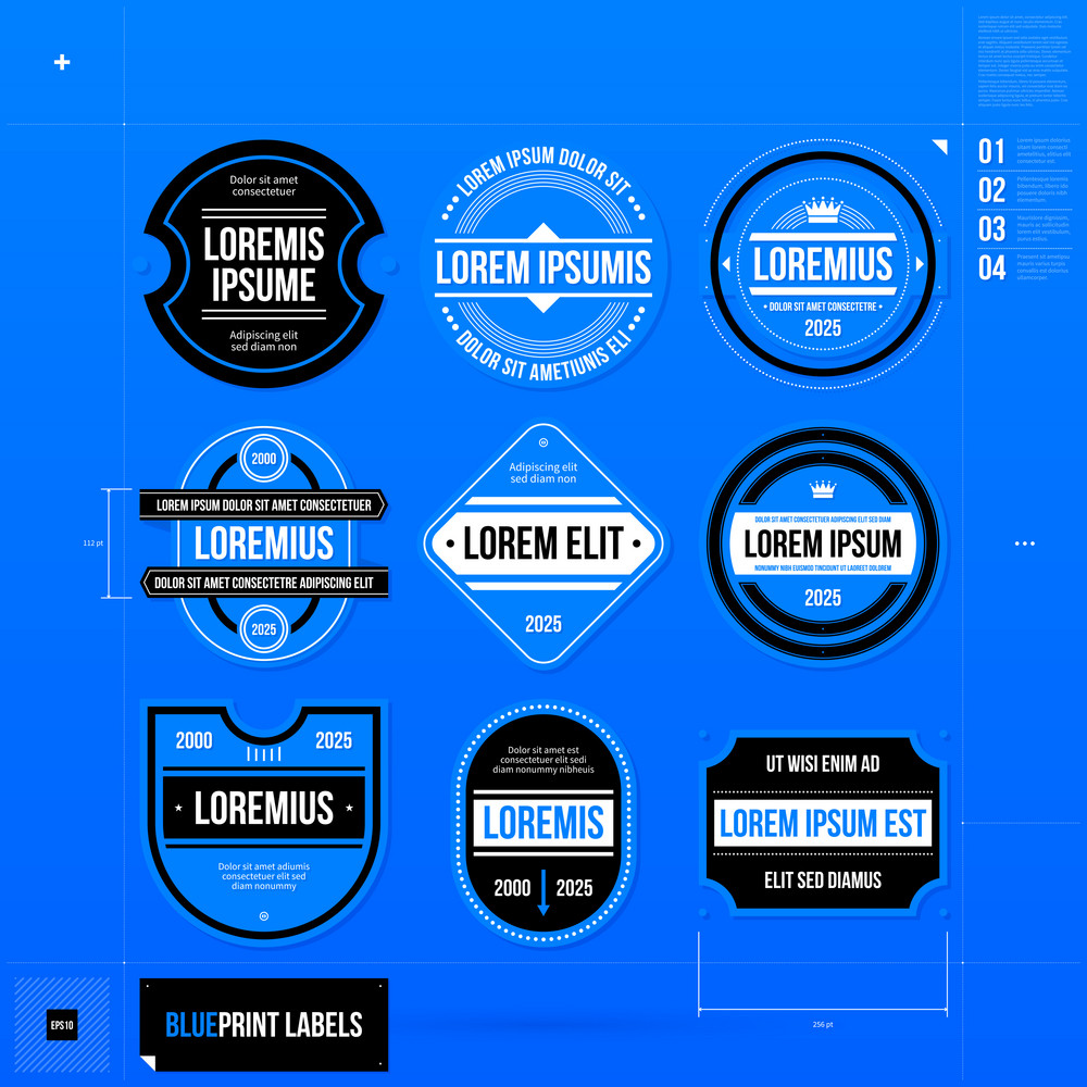 Set Of 9 Different Badges/labels In Blueprint Style. Eps10