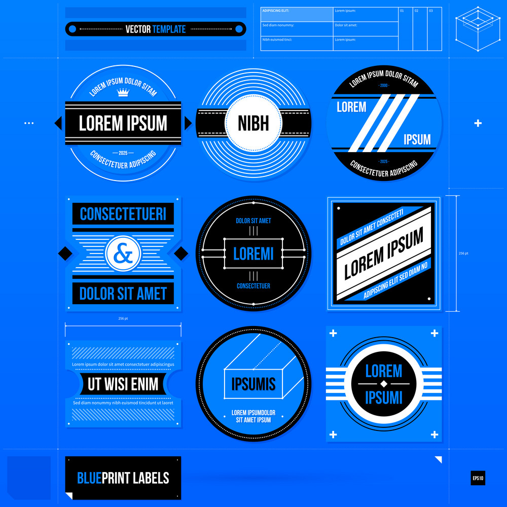 Set Of 9 Labels In Blueprint Style. Eps10