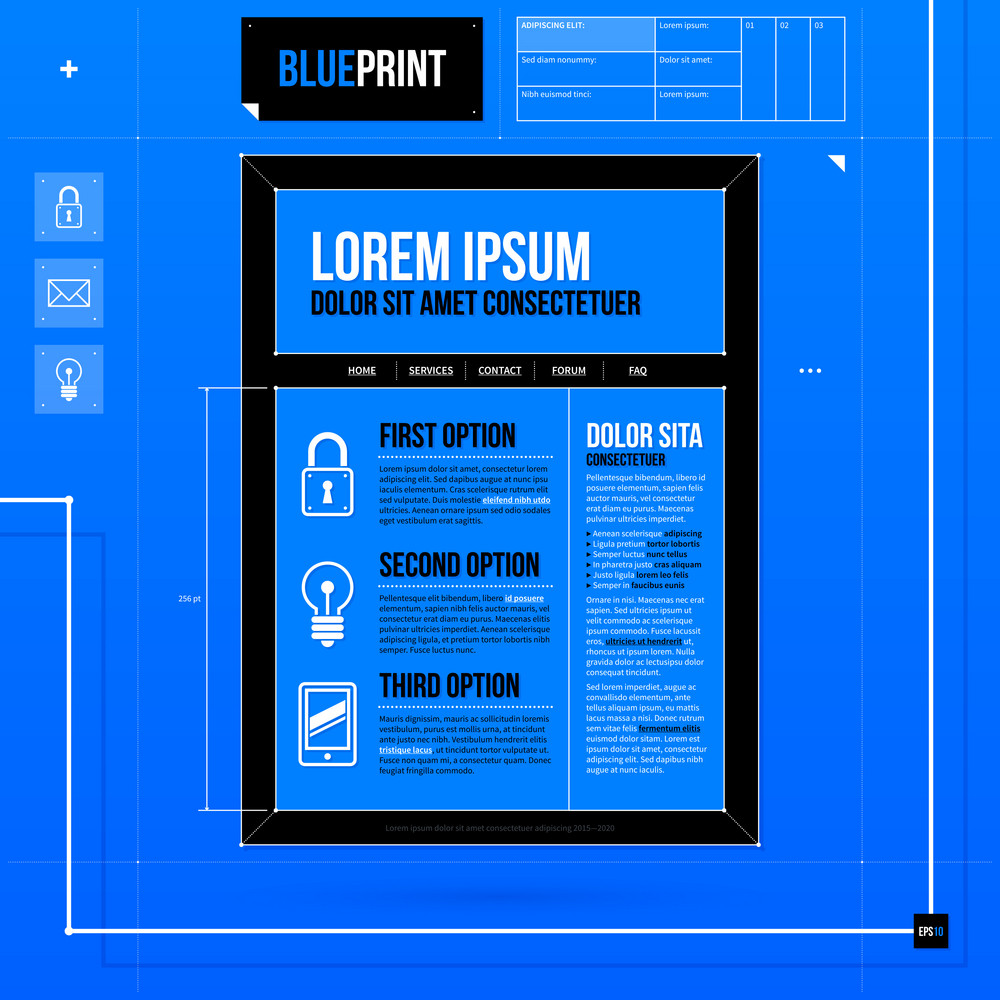 Web Site Template In Blueprint Style. Eps10