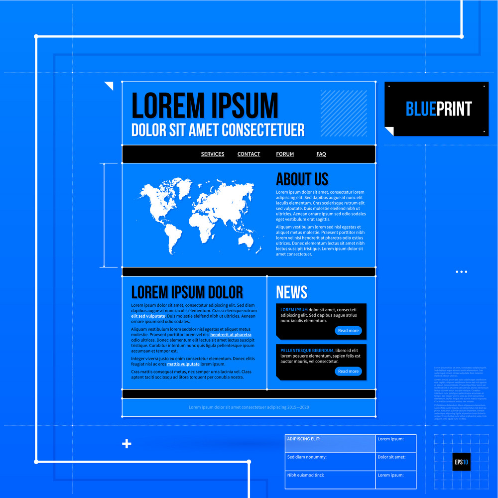 web site template in blueprint style eps10 royalty free stock image