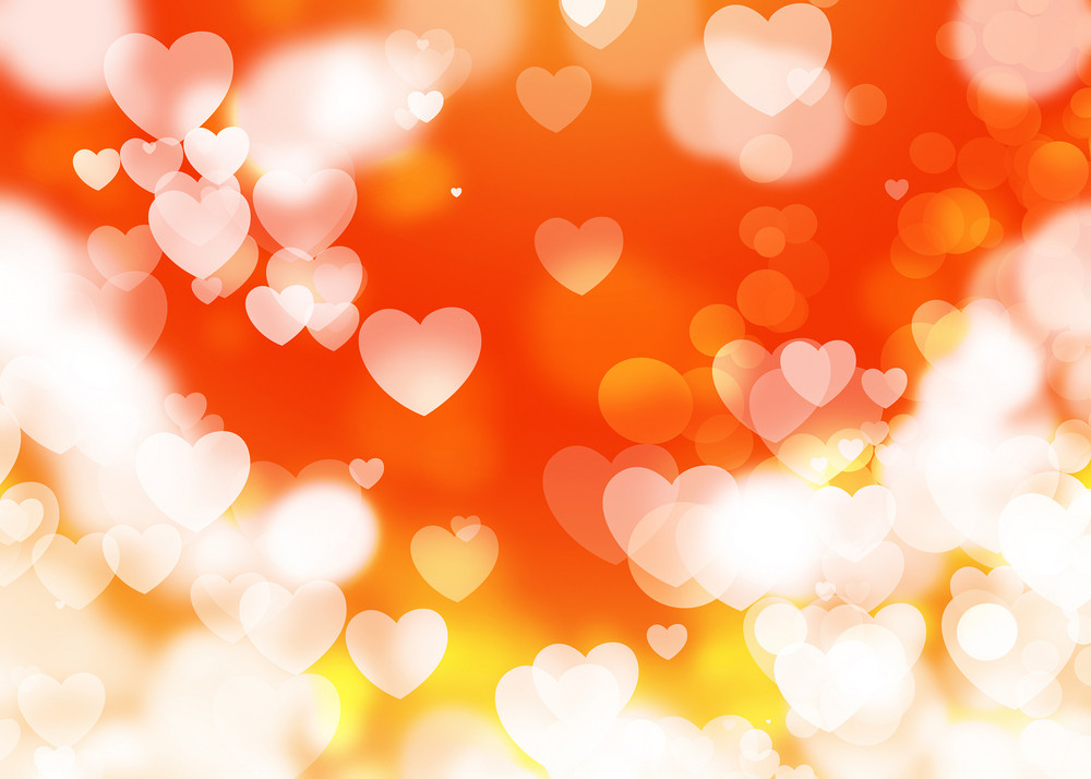 Blurred Defocused Hearts Light Background