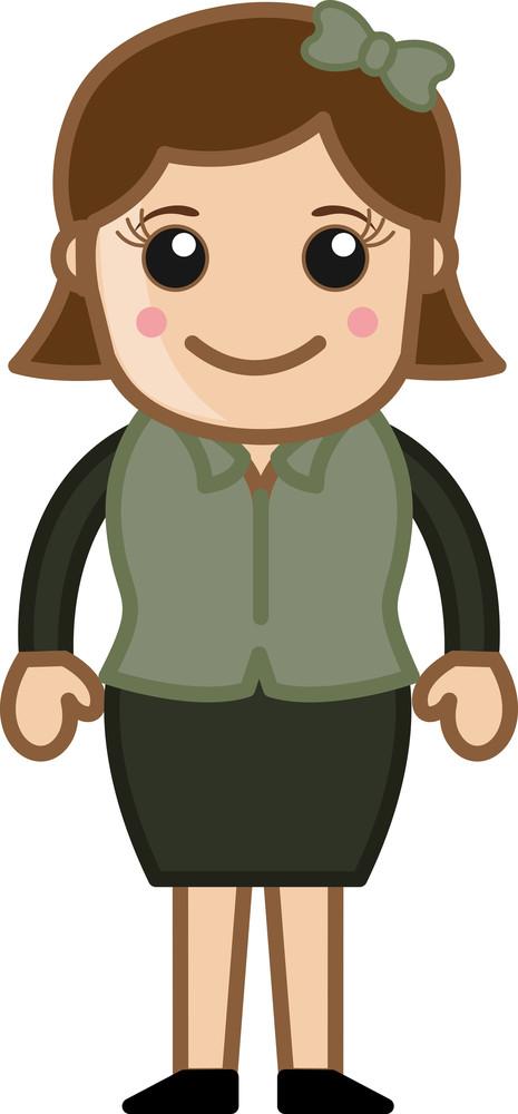 Blushing Face Girl - Business Cartoon Character Vector