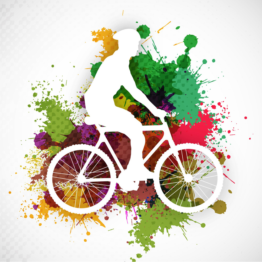 Bmx Cyclist Performing Stunt On Colorful Grungy Background