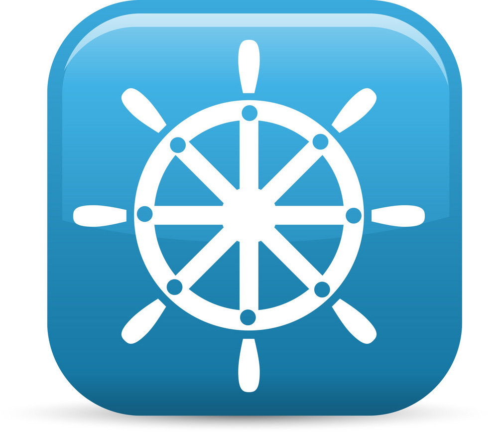 Boat Wheel Elements Glossy Icon