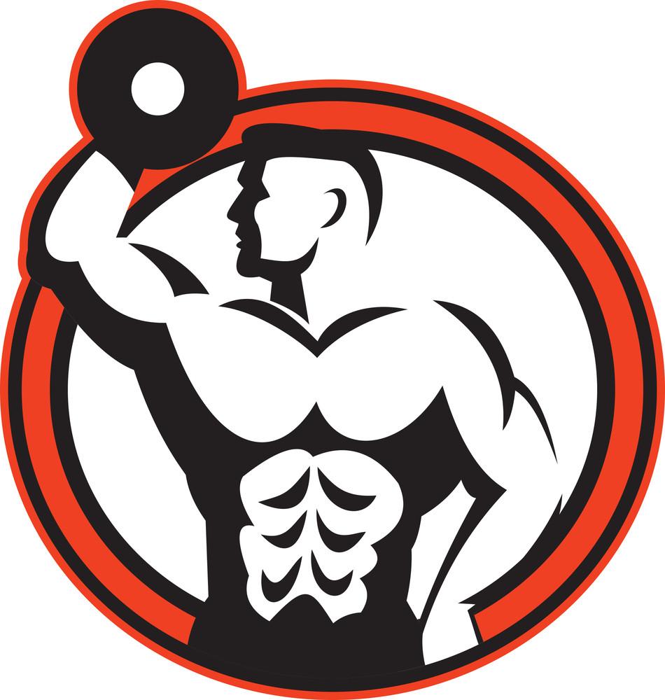 Bodybuilder Lifting Dumbbell Retro