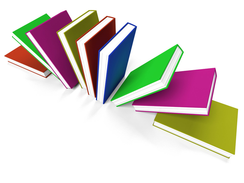 Books On A Shelf Shows Learning Or School