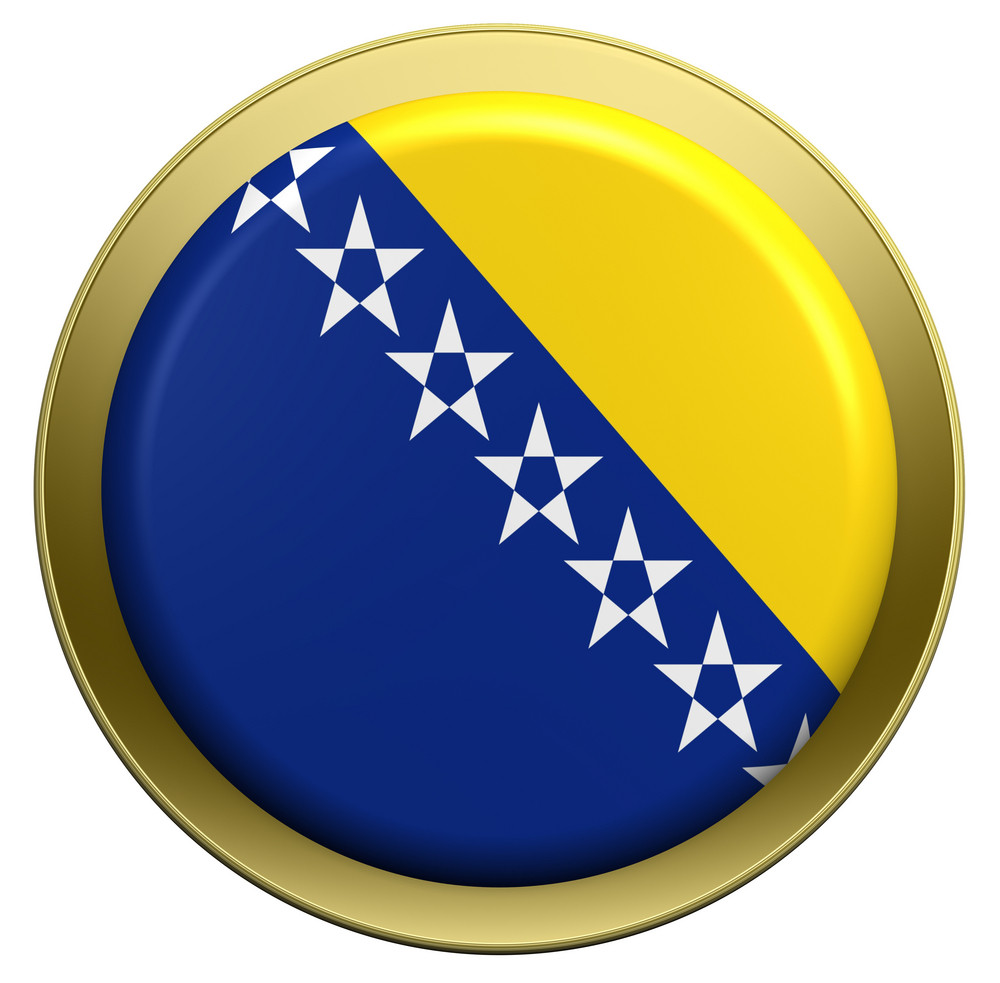 Bosnia And Herzegovina Flag On The Round Button Isolated On White.