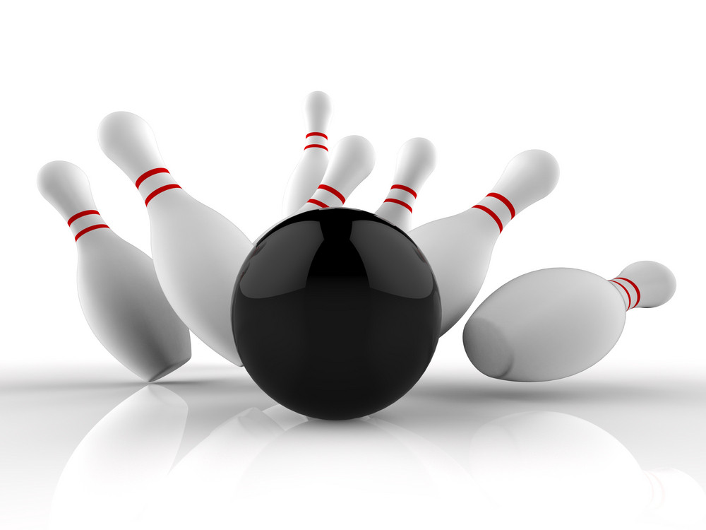 Bowling Strike Showing Winning Skittles Game