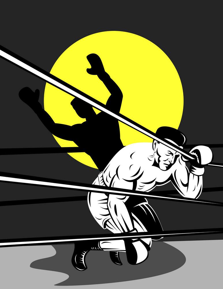 Boxer Kneeling On Ropes