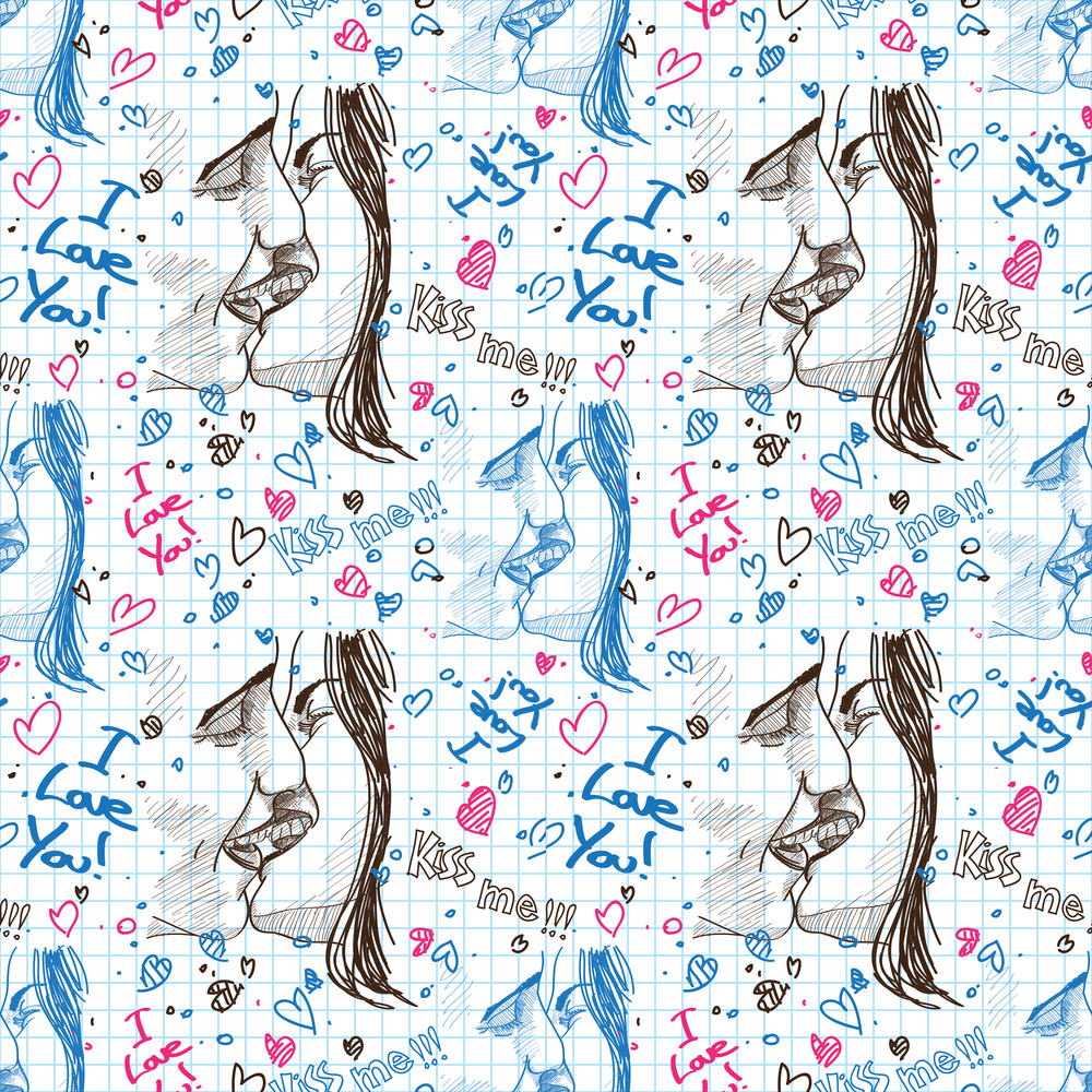 Boy And Girl Kissing. Seamless Pattern. Vector Illustration.