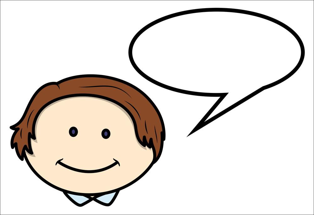 Boy Face And Speech Cloud - Vector Cartoon Illustration