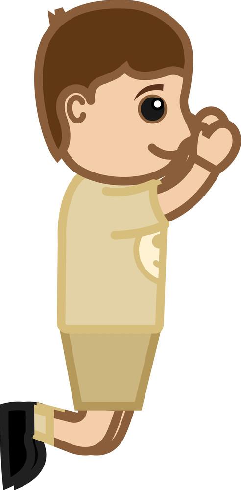 Boy Jumping - Vector Character Cartoon Illustration