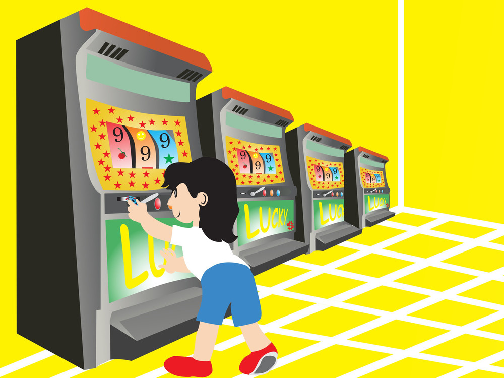 Boy Playing With Slot Machine