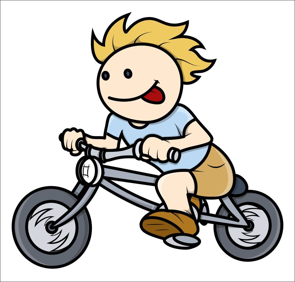 Boy Riding On Bike - Vector Cartoon Illustration