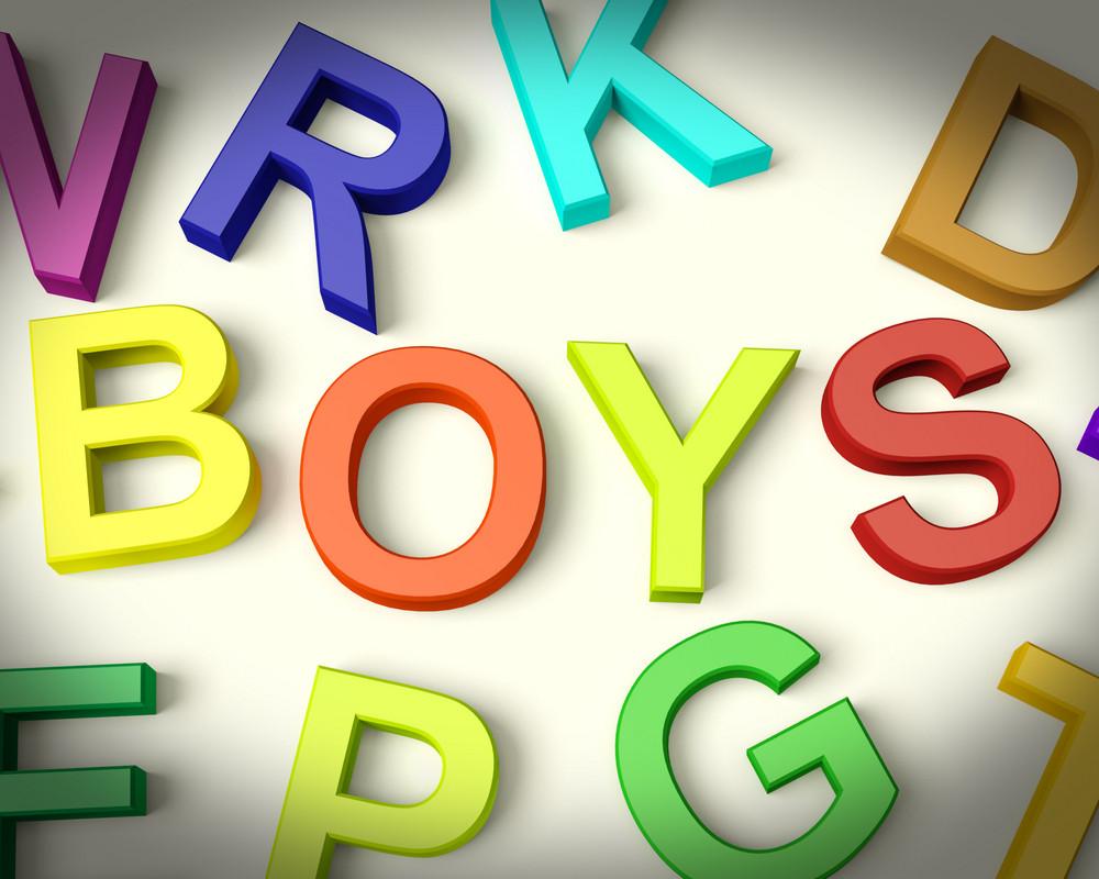 Boys Written In Plastic Kids Letters