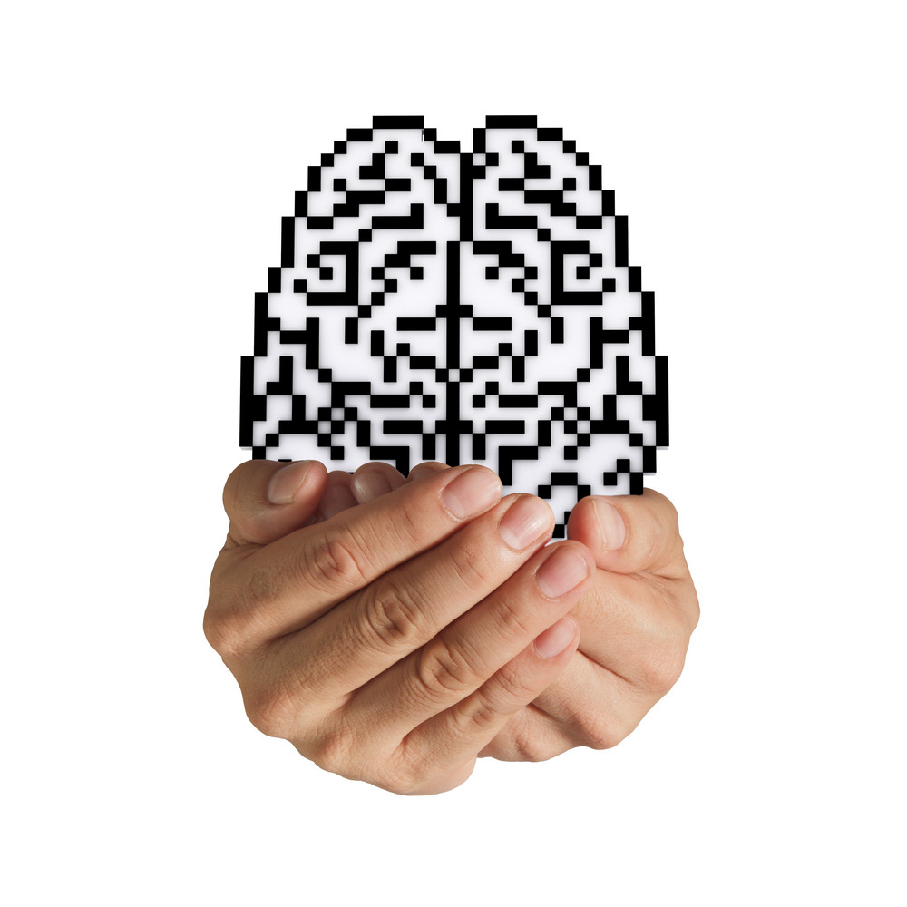 Brain Pixel Icon Sign
