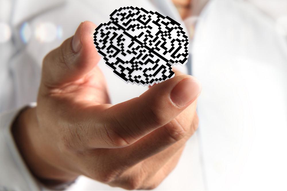 Brain Pixel Icon Sign