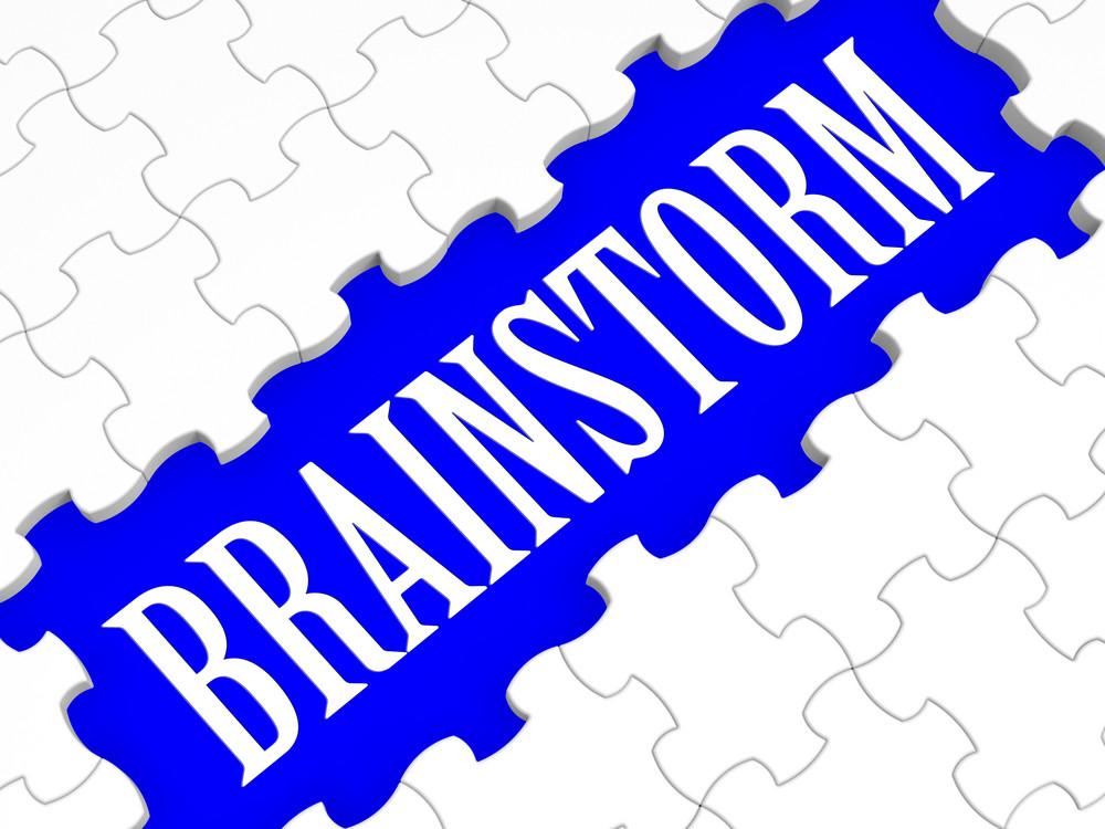 Brainstorm Puzzle Showing Creative Ideas