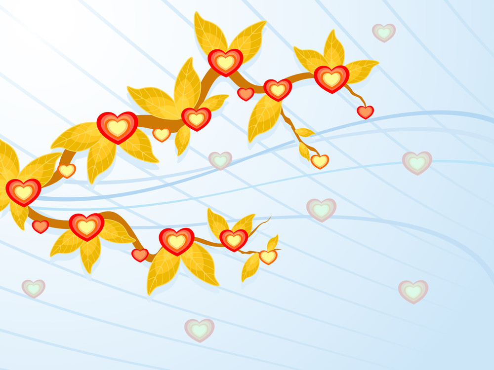 Branch Of Decorative Leaves And Beautiful Hearts. Vector Illustration.