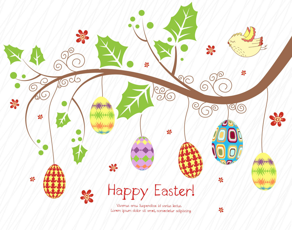 Branch With Eggs Vector Illustration