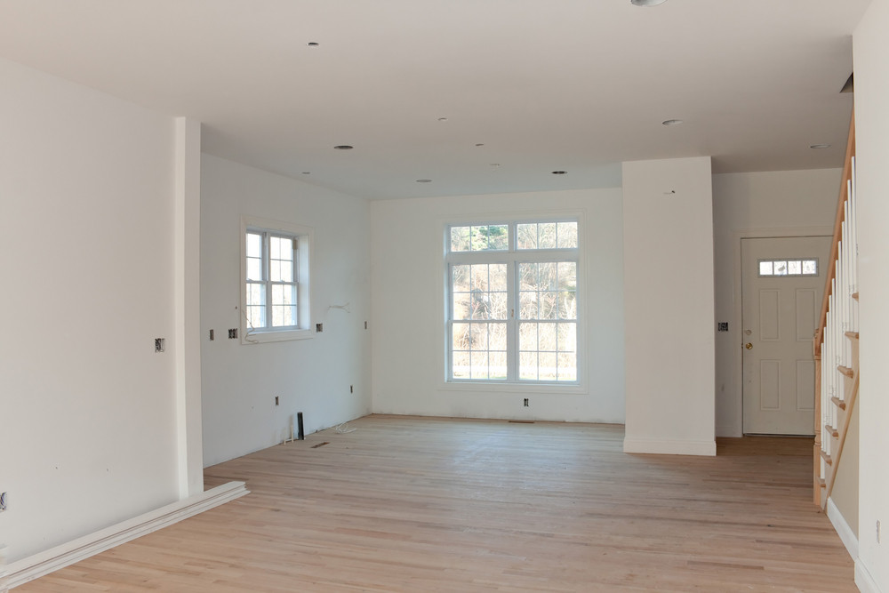 Brand new house construction interior room with unfinished ...