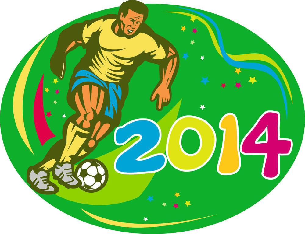 Brasil 2014 Soccer Football Player Run Retro
