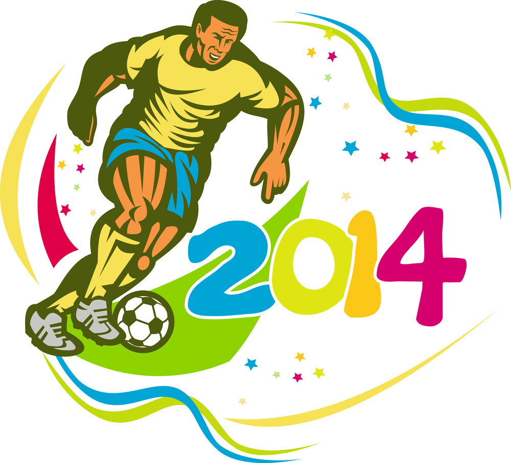 Brazil 2014 Football Player Running Ball Retro