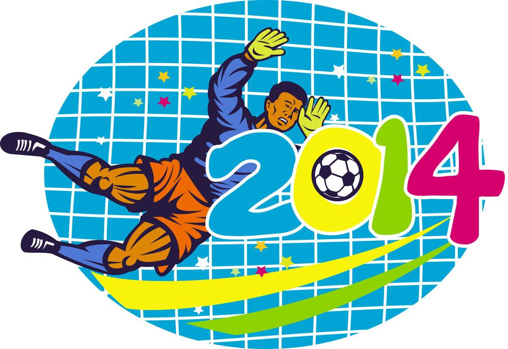 Brazil 2014 Goalie Football Player Retro