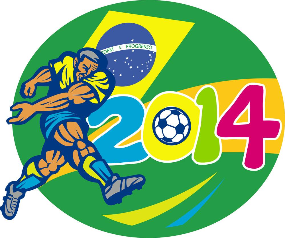 Brazil 2014 Soccer Football Player Retro