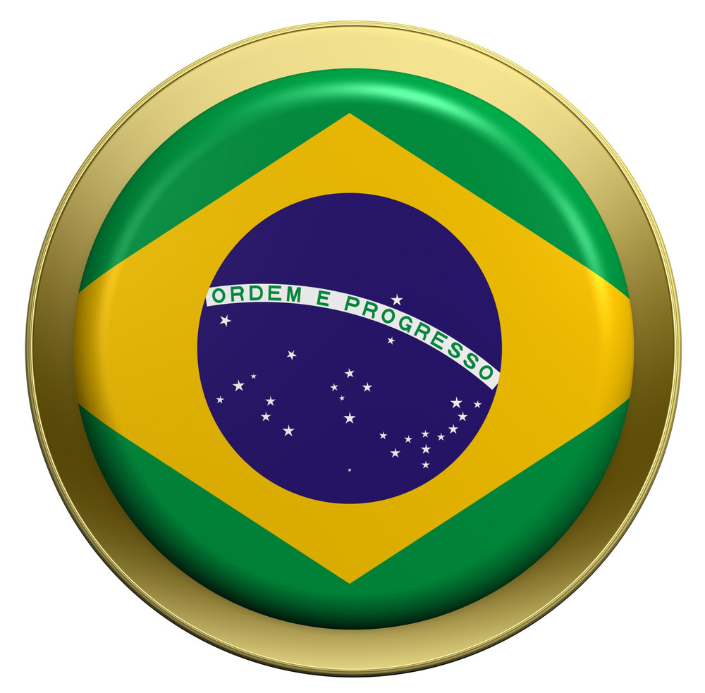Brazil Flag On The Round Button Isolated On White.