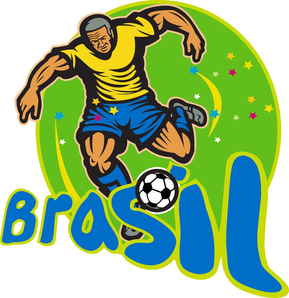 Brazil Football Player Kicking Ball Retro