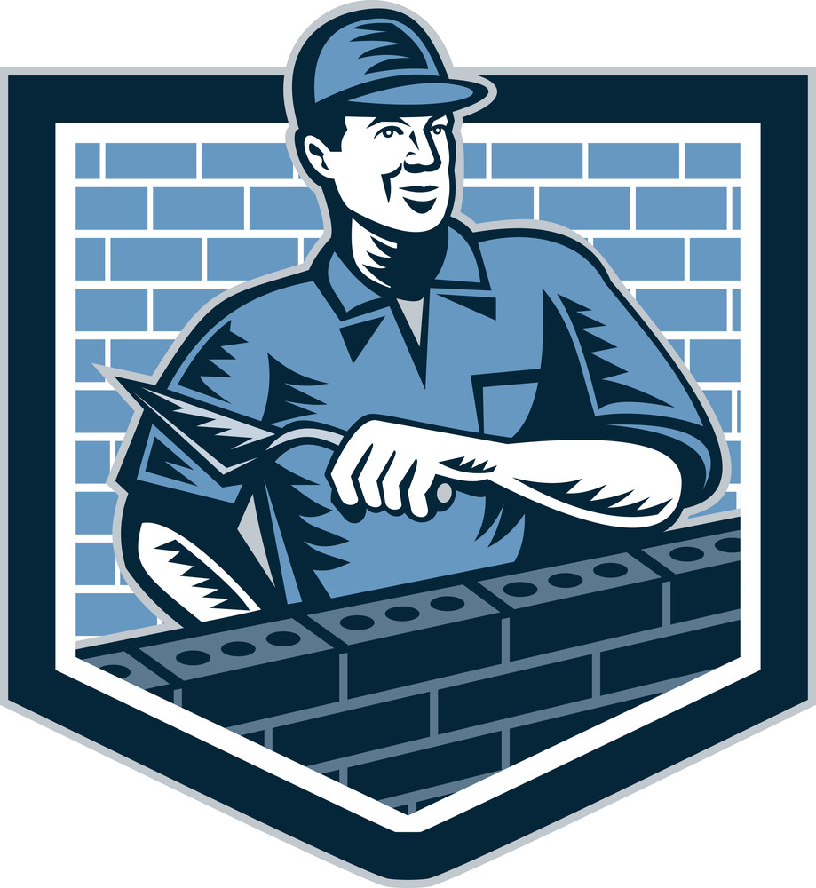 Brick Layer Mason Masonry Worker Retro