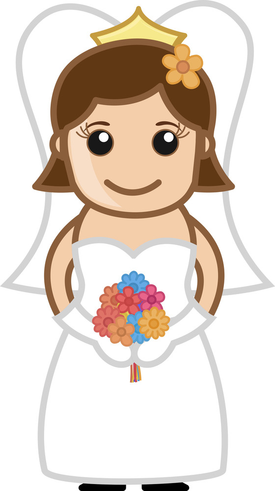 Bride Smiling - Vector Character Cartoon Illustration