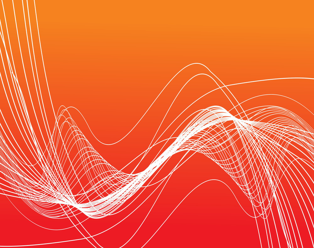 Bright Curved Lines On Orange Background