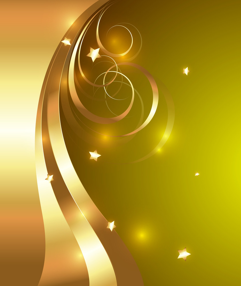 Bright Decorative Golden Flourish Design Elements