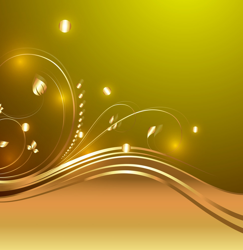 Bright Decorative Golden Flourish Design Elements