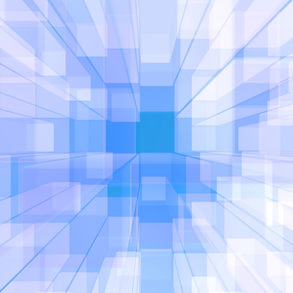 Bright Glowing Blue Glass Background With Artistic Cubes Or Square Shapes
