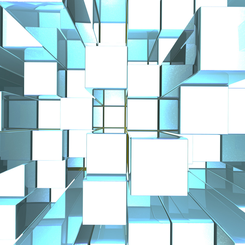 Bright Glowing Blue Metallic Background With Artistic Cubes Or Squares